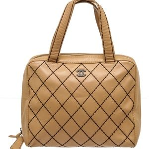 Chanel Beige Calfskin Leather Quilted Tote Bag